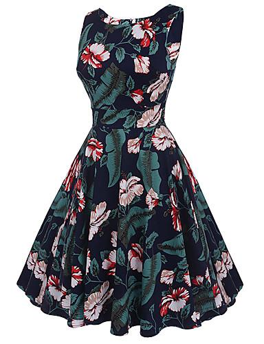Mulheres Feriado / Para Noite Vintage / Moda de Rua Algodão balanço Vestido Floral Cintura Alta Altura dos Joelhos / Verão / Padrões florais
