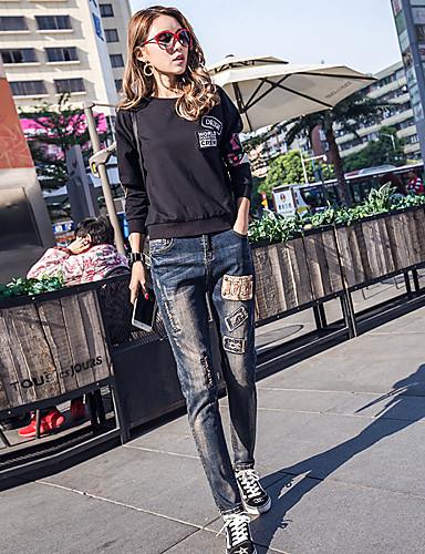Damen Street Schick Punk & Gothic Tiefe Hüfthöhe Mikro-elastisch Jeans Haremshosen Hose,Ripped Buchstabe