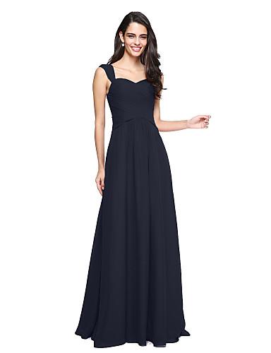 رخيصةأون الاشبينات تصفية-A-الخط أقلام طول الأرض شيفون فستان الاشبينة مع متصالب / روش بواسطة LAN TING BRIDE®