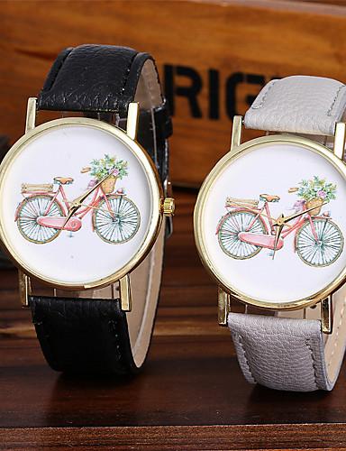 Mulheres Relógio de Pulso Chinês Legal / / / Colorido Couro Banda Brilhante / Casual / Fashion Preta / Branco / Marrom