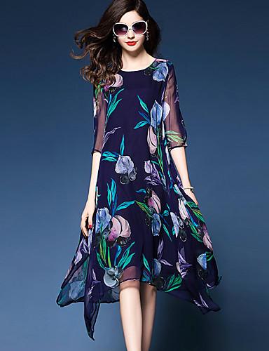 Mujer Tallas Grandes Noche Corte Ancho Gasa Vestido - Estampado, Floral Asimétrico / Verano