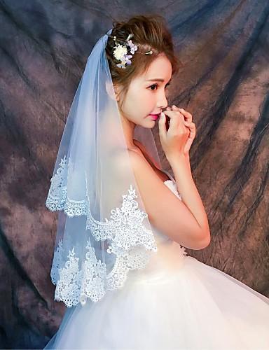 Uma Camada Borda com aplicação de Renda Véus de Noiva Véu Cotovelo / Véu Ponta dos Dedos com Estampa Renda / Tule / Clássico