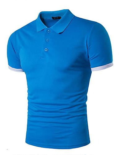 Herren Solide Einfach Lässig/Alltäglich T-shirt,Peter Pan-Kragen Sommer Kurzarm Baumwolle