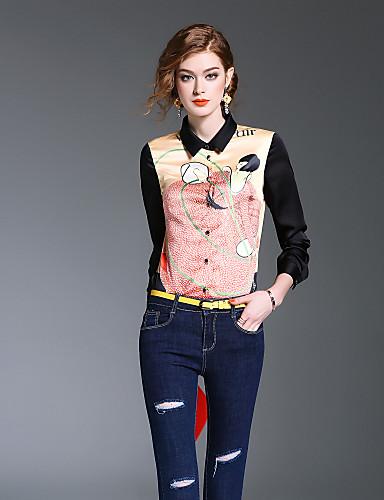 여성 프린트 셔츠 카라 긴 소매 셔츠,귀여운 데이트 캐쥬얼/데일리 폴리에스테르 봄 여름 중간