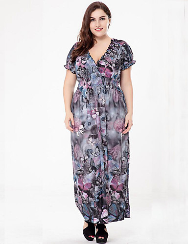 voordelige Grote maten jurken-Dames Grote maten Boho Ruimvallend Jurk Print Diepe V-hals Maxi