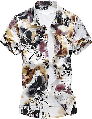 Homens Camisa Social Floral Colarinho Clássico