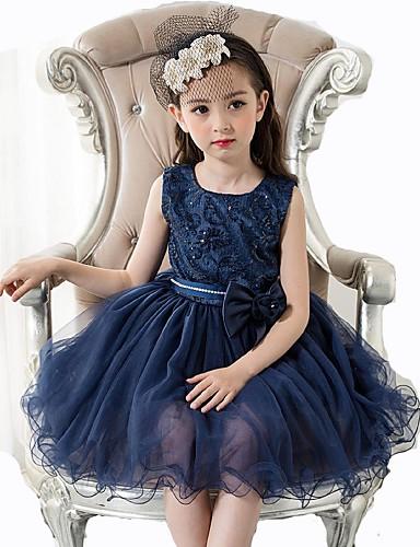 Plesové šaty Krátký / Mini Šaty pro květinovou družičku - Organza Bez rukávů Klenot s Mašle / Krajka / Perličky podle / Elegantní