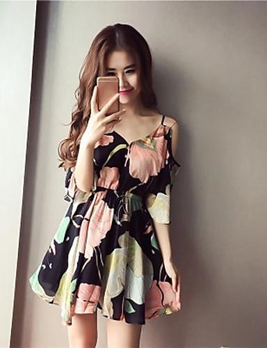 67c5288f76a43 Kadın's Kumsal Dışarı Çıkma Sokak Şıklığı Boho Flare Kol Şifon Elbise -  Çiçekli, Fırfırlı Dantelli Askılı Mini Yüksek Bel 5847260 2019 – $3.60
