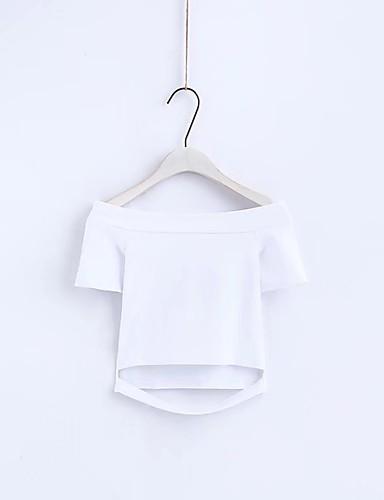 여성용 솔리드 보트넥 주름장식 - 티셔츠, 스트리트 쉬크 데이트 면