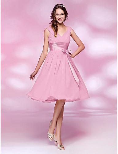 A-Şekilli / Prenses V Yaka Diz Boyu Şifon Fiyonk / Drape / Kurdeleler ile Nedime Elbisesi tarafından LAN TING BRIDE®