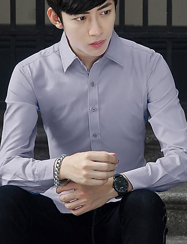 남성 솔리드 셔츠 카라 긴 소매 셔츠,심플 캐쥬얼/데일리 면 얇음