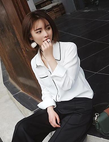 여성 솔리드 셔츠 카라 긴 소매 셔츠,심플 캐쥬얼/데일리 면 봄 여름 얇음