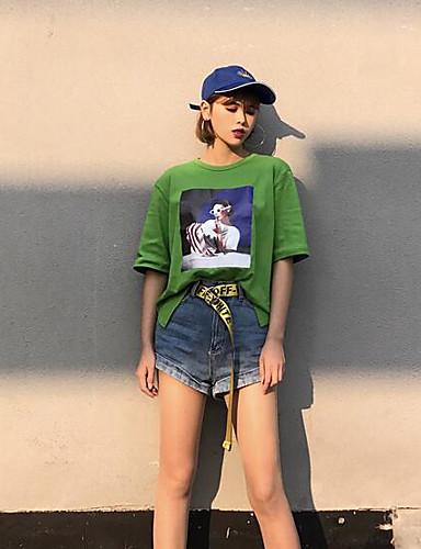 여성 프린트 라운드 넥 짧은 소매 티셔츠,심플 캐쥬얼/데일리 면
