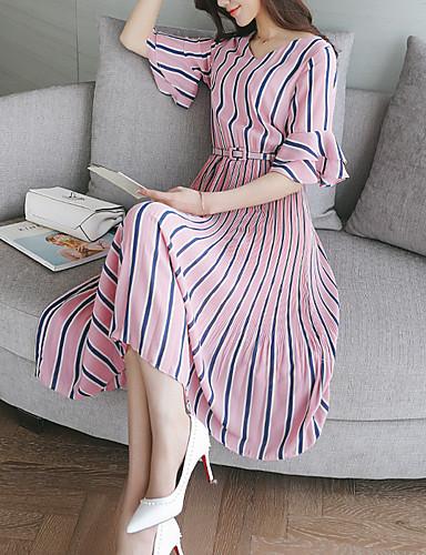 여성용 일상 칼집 미디 드레스,줄무늬 라운드 넥 짧은 소매 여름 가을 낮은 밑위 실크 면