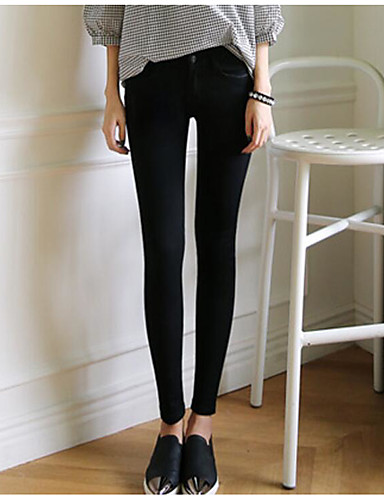 Mulheres Cintura Alta Justas/Skinny Chinos Calças - Sólido