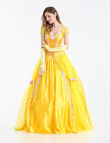 billige Cosplay og kostumer-Prinsesse Eventyr Belle Kjoler Dame Pige Film Cosplay Prinsesse Gul Kjole Handsker Halloween Karneval Nytår Terylene