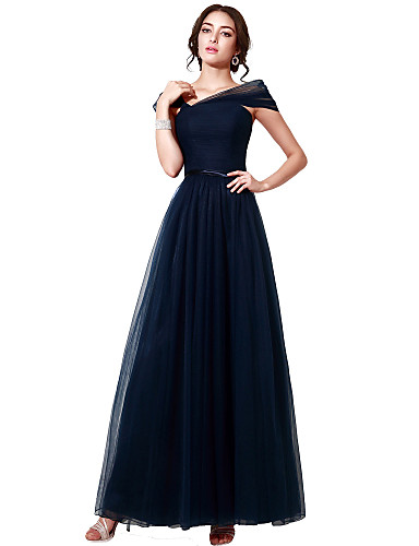 A-Line Off Shoulder Floor Length Tulle Formal Evening Dress with Sash / Ribbon Pleats by Sarahbridal