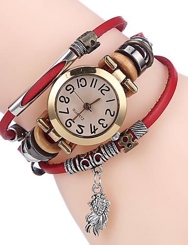 Mulheres Bracele Relógio Quartzo Legal Couro Banda Analógico Casual Preta / Branco / Azul - Café Marron Vermelho