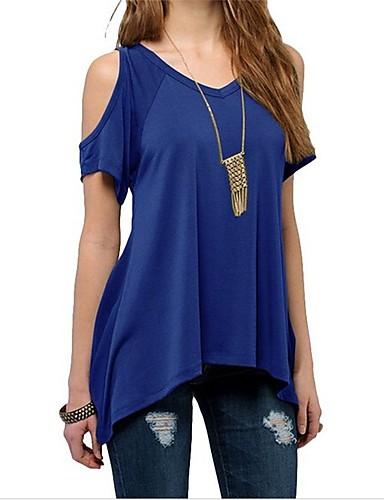billige Dametopper-V-hals T-skjorte Dame - Ensfarget Strand Vin / Sommer