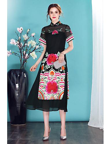 Damen Hülle Kleid-Ausgehen Lässig/Alltäglich Chinoiserie Stickerei Ständer Midi Kurzarm Seide Frühling Sommer Mittlere Hüfthöhe