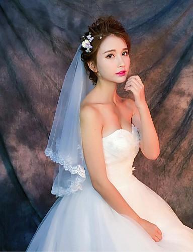One-tier Lace Applique Edge الحجاب الزفاف Elbow Veils / Fingertip Veils مع زينة / نموذج دانتيل / تول / كلاسيكي