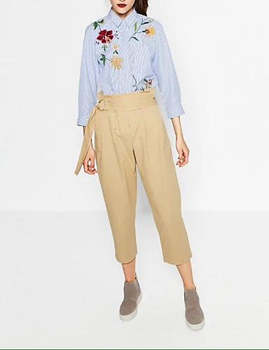 여성 줄무늬 플로럴 자수장식 셔츠 카라 셔츠,섹시 심플 스트리트 쉬크 데이트 캐쥬얼/데일리 실크 면 여름 얇음 중간