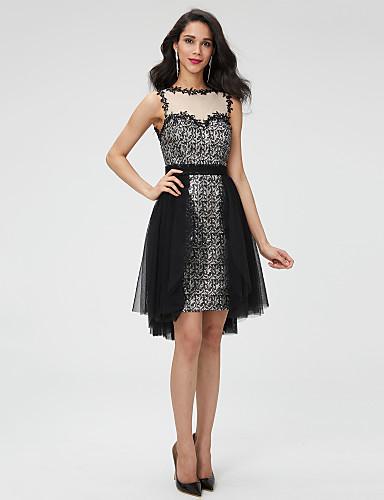 A-Linie Schmuck Asymmetrisch Tüll Pailletten Cocktailparty Abschlussball Kleid mit Perlenstickerei Schärpe / Band Plissee durch TS