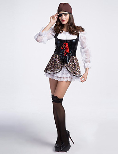 levne Cosplay a kostýmy-Pirát Cosplay Kostýmy Kostým na Večírek Dámské Sexy uniformy Halloween Karneval Festival / Svátek Polyester Černá + bílá Karnevalové kostýmy Patchwork