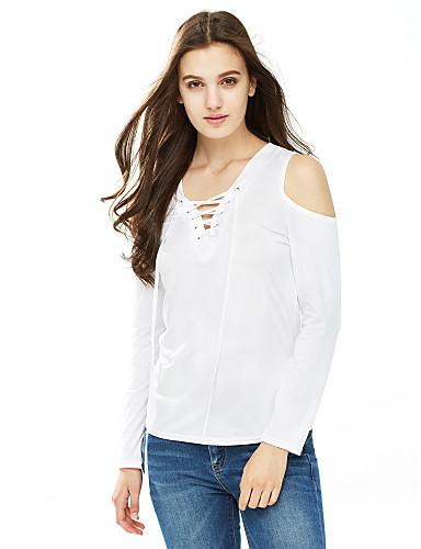 Damen Solide T-shirt, V-Ausschnitt Polyester