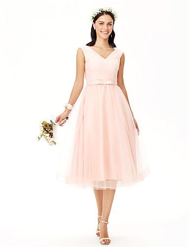Linha A Decote V Longuette Renda sobre Tule Vestido de Madrinha com Laço(s) de LAN TING BRIDE® / Frente Única