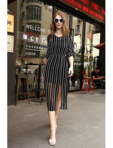 Damen A-Linie Kleid - Gitter, Gestreift V-Ausschnitt
