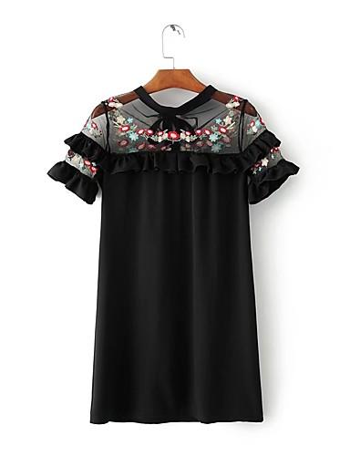 Damen Lose Etuikleid Kleid-Ausgehen Lässig/Alltäglich Einfach Street Schick Stickerei Rundhalsausschnitt Übers Knie Kurzarm Seide