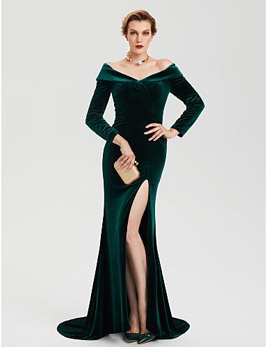 عامودي دون الكتف ذيل مثل الفرشاة مخمل ستايل المشاهير حفلة رسمية فستان مع منفصل بواسطة TS Couture®