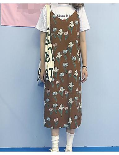 Damen Freizeit T-shirt Druck Gurt Kleid