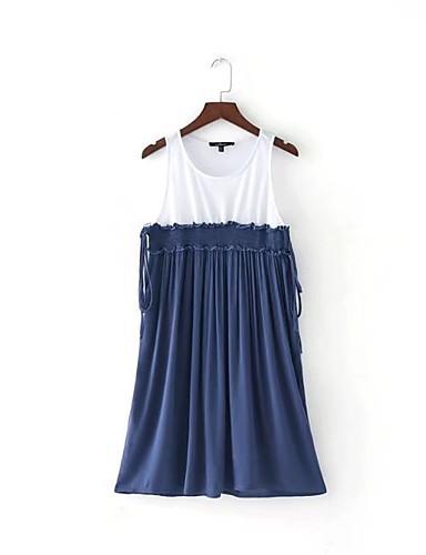 Damen Lose Etuikleid Kleid Einfach Street Schick Einfarbig Gurt Knielang Ärmellos Seide Baumwolle Sommer Herbst Mittlere Hüfthöhe