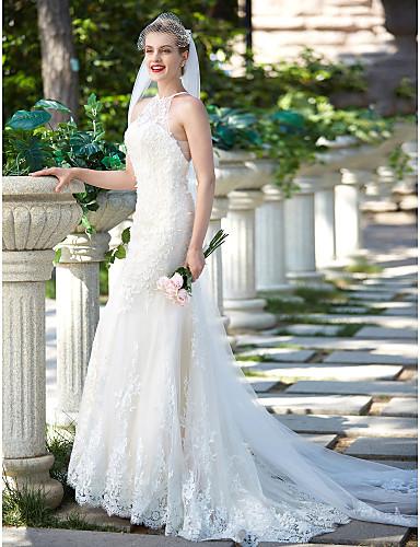 Mořská panna Illusion Neckline Dlouhá vlečka Krajka / Tyl Svatební šaty vyrobené na míru s Korálky / Aplikace / Knoflík podle LAN TING BRIDE® / Krásná záda