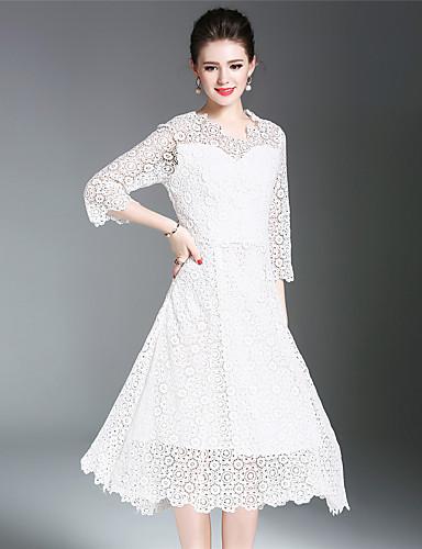 Damen A-Linie Hülle Spitze Kleid-Party Ausgehen Niedlich Anspruchsvoll Solide V-Ausschnitt Midi Polyester Frühling Sommer Mittlere