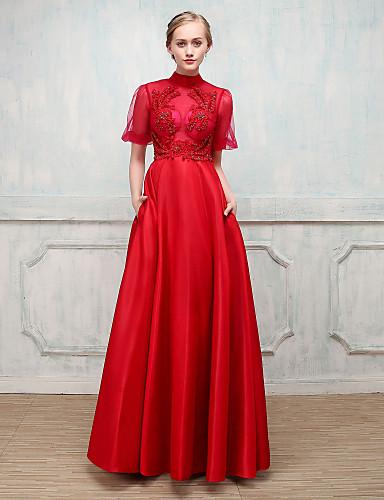 Ballkleid Stehkragen Boden-Länge Stick-Satin Formeller Abend Kleid mit Kristall Perlenstickerei durch SG