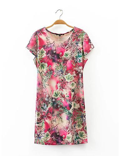Damen Lose Etuikleid T Shirt Kleid-Ausgehen Lässig/Alltäglich Einfach Street Schick Blumen Gitter Rundhalsausschnitt Übers Knie Kurzarm