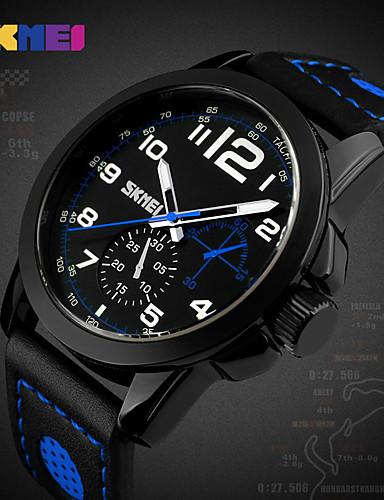 Homens Quartzo Relógio de Pulso Relógio inteligente Relógio Esportivo Chinês Cronógrafo Mostrador Grande Couro Legitimo Banda Amuleto