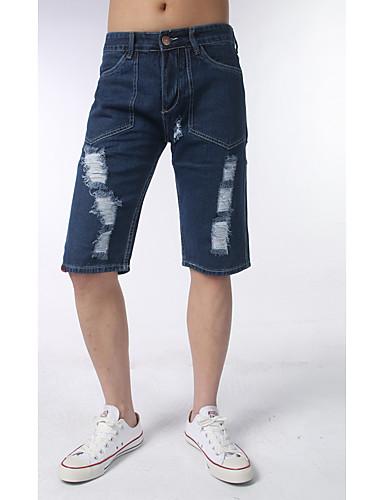 Pánské Jednoduchý Aktivní Mikro elastické Džíny Kalhoty Štíhlý Mid Rise Džínovina Jednobarevné