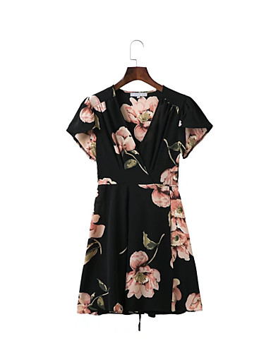 Damen Lose Etuikleid Kleid-Ausgehen Lässig/Alltäglich Einfach Street Schick Blumen V-Ausschnitt Übers Knie Kurzarm Seide Baumwolle Sommer