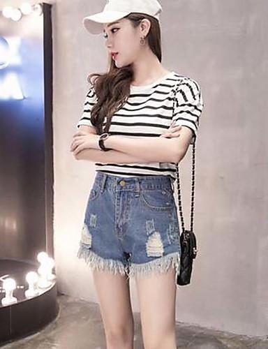 Damen Sexy Einfach Mittlere Hüfthöhe Unelastisch Jeans Kurze Hosen Gerade Hose,Ripped Solide