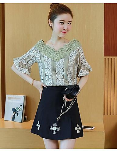 Damen Solide Niedlich Ausgehen Lässig/Alltäglich T-shirt,V-Ausschnitt Kurzarm Polyester