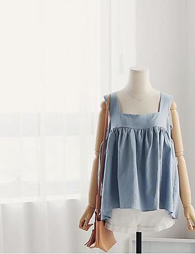Dámské Jednobarevné Jdeme ven Vintage Tričko-Léto Bavlna Ramínka Bez rukávů Střední