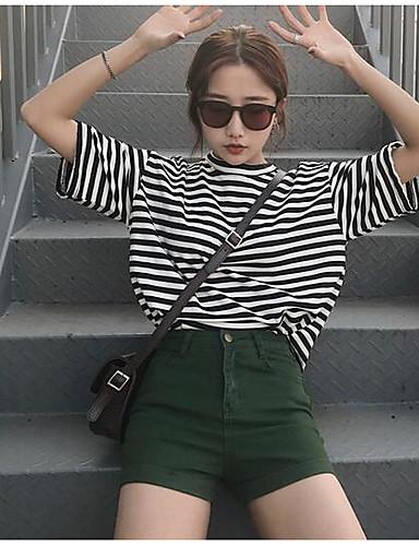 Damen Freizeit Mittlere Hüfthöhe Mikro-elastisch Schlank Kurze Hosen Hose Sommer Solide