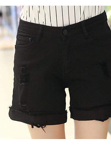 Damen Street Schick Mittlere Hüfthöhe Mikro-elastisch Jeans Lose Hose einfarbig
