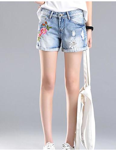 Damen Street Schick Breites Bein Kurze Hosen Jeans Hose - Druck
