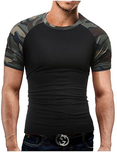 billige T-shirts og undertrøjer til herrer-Rund hals Tynd Herre - camouflage Bomuld, Trykt mønster Militær Sport Plusstørrelser T-shirt Sort XL / Kortærmet / Sommer
