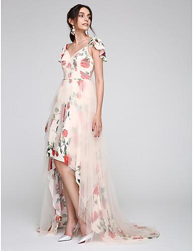A-vonalú Szív-alakú Aszimmetrikus Tüll Hivatalos estély Ruha val vel Gombok Minta Cakkos által TS Couture®